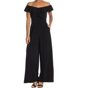 Eliza J Off the Shoulder Ruffle Wide Leg Jumpsuit